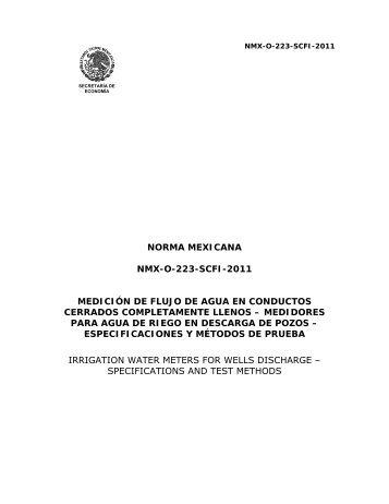 NORMA MEXICANA NMX-O-223-SCFI-2011 MEDICIÓN DE FLUJO ...