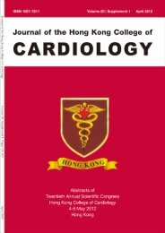 April 2012 Vol.20 supplement 1 - Hong Kong College of Cardiology