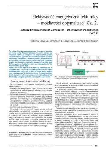 Efektywność energetyczna tekturnicy – możliwości optymalizacji Cz. 2.
