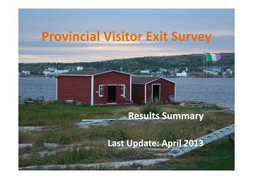 2011 Visitor Exit Survey Presentation - Tourism, Culture and ...