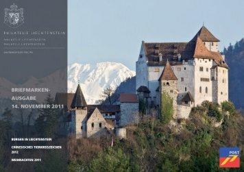 Briefmarkenausgabe 14. November 2011 - Philatelie Liechtenstein
