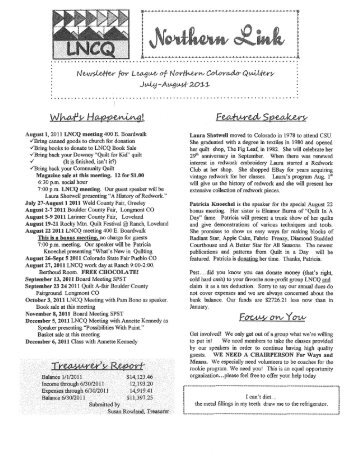 July-August 2011 Newsletter - League of Northern Colorado Quilters