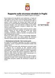 Rapporto sulla sicurezza stradale in Puglia - CReMSS