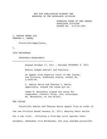 Barna v. Maldonado - Appellate Law NJ Blog