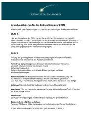 Bewertungskriterien für den Südwestfalenaward 2010 Stufe 1 Stufe 2