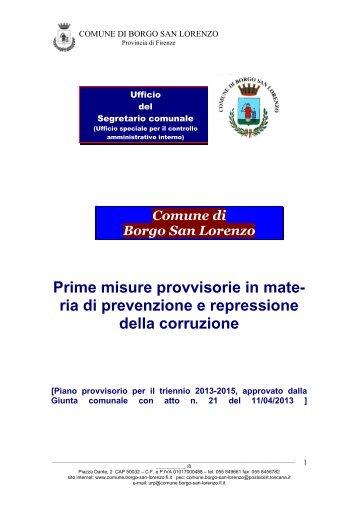 prime misure di prevenzione - Comune di Borgo San Lorenzo