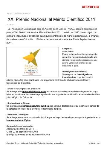 XXI Premio Nacional al Mérito Científico 2011 - Noticias - Universia