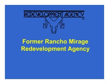 March 20, 2012 Overview Presentation - City of Rancho Mirage