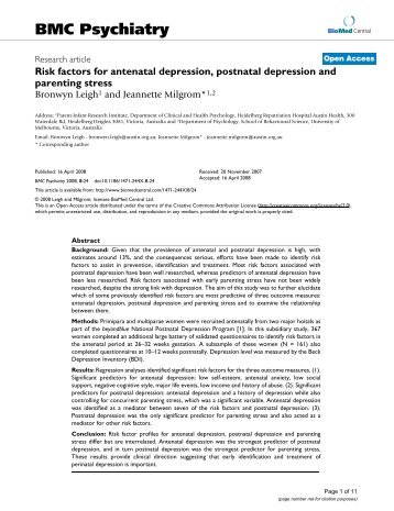 determining the relationship between postnatal depression and Strategies used by postnatal mothers 3 to determine the association  to determine the relationship between depression and type of  determine the level of.