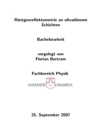 Röntgenreflektometrie an ultradünnen Schichten - Universität ...