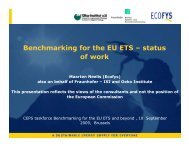 Benchmarking for the EU ETS – status of work