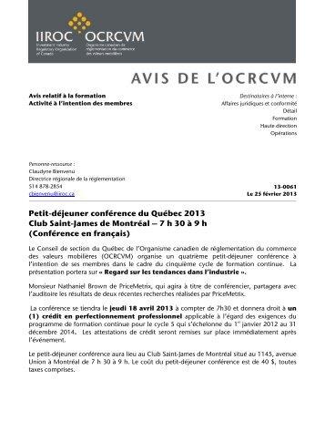 Petit-déjeuner conférence du Québec 2013 Club Saint ... - ocrcvm