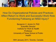 The role of organizational policies in return to work - Institute for ...