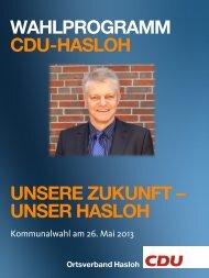 Wahlprogramm 2013 - CDU OV Hasloh
