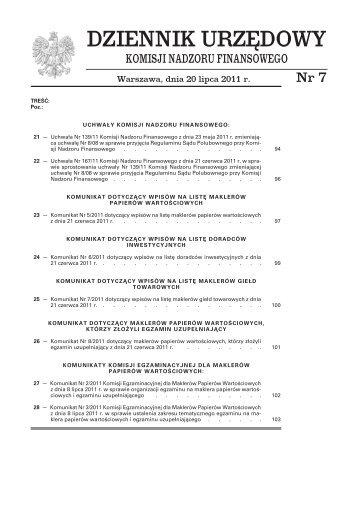 Dziennik Urzędowy Komisji Nadzoru Finansowego nr 7 - Komisja ...