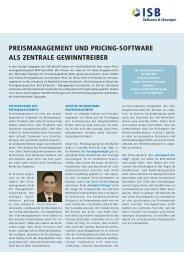 Preismanagement und Pricing-Software als zentrale ... - ISB AG