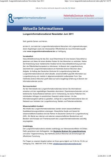 Lungeninfo: Lungeninformationsdienst Newsletter Juni 2011