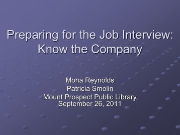 Preparing for the Job Interview - Mount Prospect Public Library