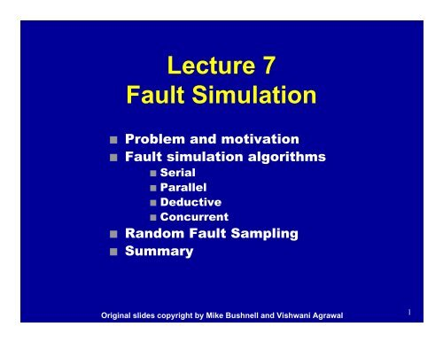 Parallel Fault Simulation - CS Course Webpages