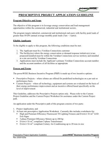 prescriptive project application guideline - Veridian