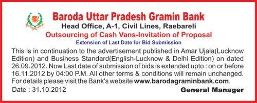 Annexure-V Baroda Uttar Pradesh Gramin Bank - Baroda UP ...