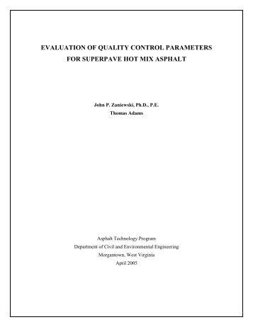evaluation of quality control parameters for superpave hot mix asphalt