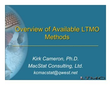Overview of Available LTMO Methods
