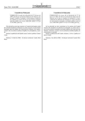 Conselleria d'Educació Conselleria de Educación 57017 - Enxarxats