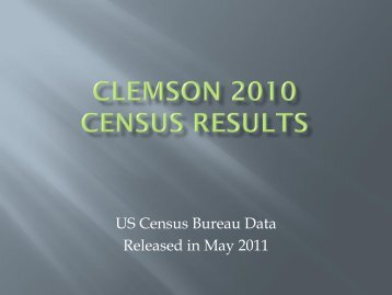 CLEMSON 2010 CENSUS RESULTS - The City of Clemson
