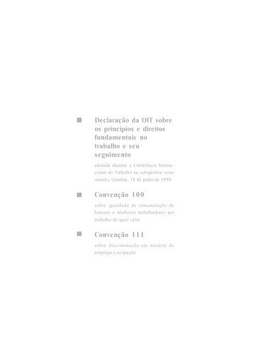 Declaração da OIT sobre os princípios e direitos fundamentais no ...