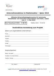 Qatar 2010 Verbindliche Anmeldung zum Projekt - gepa2