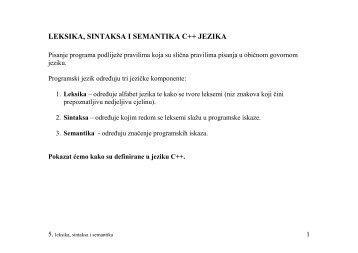 LEKSIKA, SINTAKSA I SEMANTIKA C++ JEZIKA - FESB