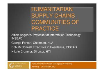 humanitarian supply chains communities of practice - The Supply ...