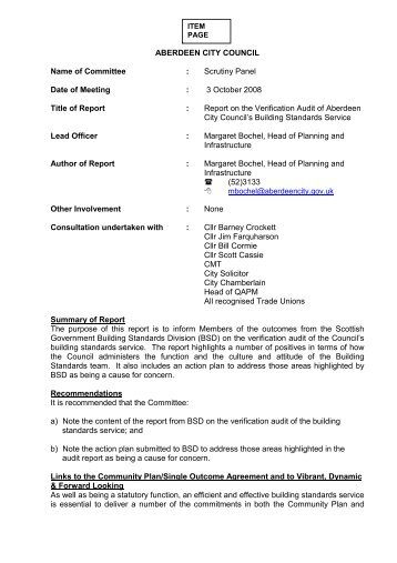 Report on the Verification Audit of Aberdeen City Council's Building ...