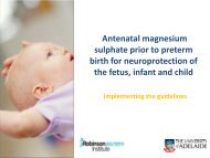 Working to Improve Survival and Health for babies born very preterm