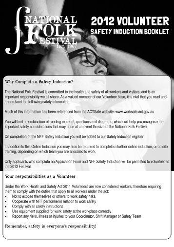2012 Volunteer Safety Induction Booklet - National Folk Festival