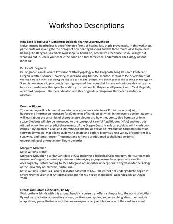 Workshop Descriptions - Saturday Academy
