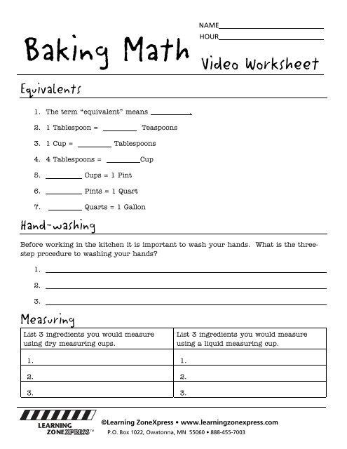 Baking Math Worksheets Learning Zone Express