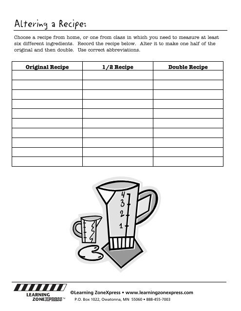 Altering a Recipe: Choose
