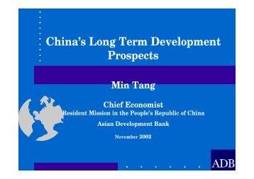 China's Long Term Development Prospects