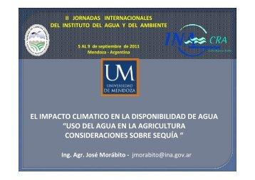 """EL IMPACTO CLIMATICO EN LA DISPONIBILIDAD DE AGUA """"USO ..."""