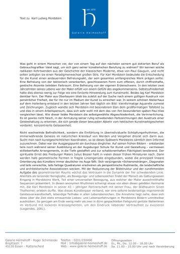 text zum werk karl mordsteins - Galerie Heimeshoff