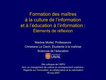 Formation des maîtres à la culture de l - Faculté des sciences de l ...
