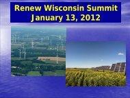 Renew Wisconsin Summit January 13, 2012