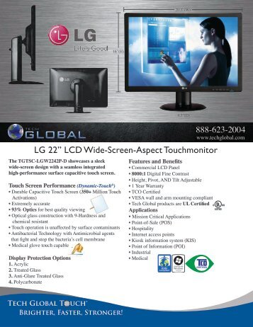 "LG 22"" LCD Wide-Screen-Aspect Touchmonitor - Tech Global"