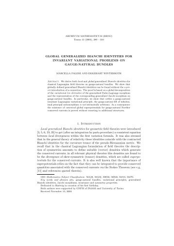 GLOBAL GENERALIZED BIANCHI IDENTITIES FOR INVARIANT ...