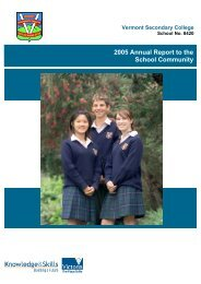 2005 Annual Report to the School Community - Vermont Secondary ...