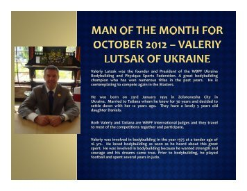 Valeriy Lutsak was the founder and President of the WBPF ... - ABBF