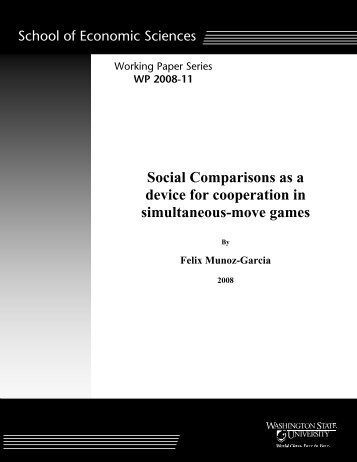 Social Comparisons as a device for cooperation in simultaneous ...
