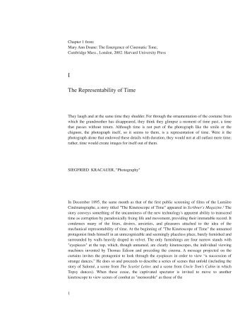I The Representability of Time - USC Interactive Media Division